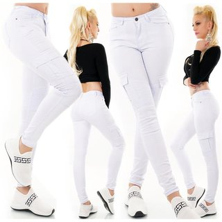 Womens skinny fit cargo jeans biker style white UK 10 (S)