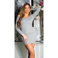 Sexy Damen Off-Shoulder Strickkleid/Longpullover Grau