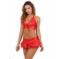 2 pcs gogo set wet look top + mini skirt clubwear red