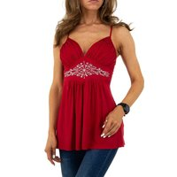 Sexy womens strappy babydoll top with rhinestones red