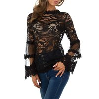 Transparent womens lace shirt long-sleeved black