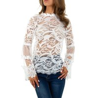 Transparent womens lace shirt long-sleeved white