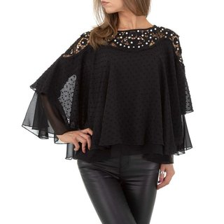 Elegant womens chiffon shirt with batwing sleeves black