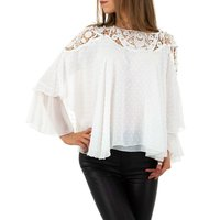 Elegant womens chiffon shirt with batwing sleeves white