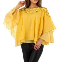 Elegant womens chiffon shirt with batwing sleeves mustard