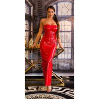 Floor-length club dress in latex look vinyl red