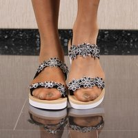 Flat womens strappy sandals with rhinestones black
