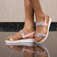 Flat womens strappy sandals with rhinestones pink