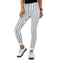 Trendy womens skinny jeans with striped pattern white/blue