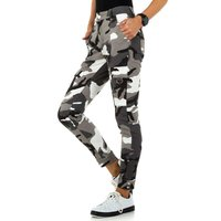 Trendy womens camouflage jeans army look grey