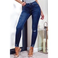 Skintight womens stretch skinny jeans destroyed dark blue