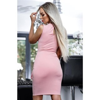 Sleeveless bodycon dress with side tie antique pink