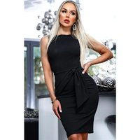 Sleeveless bodycon dress with side tie black