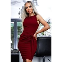 Sleeveless bodycon dress with side tie wine-red