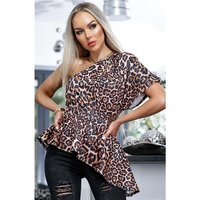 Womens one-shoulder shirt with animal print leopard brown