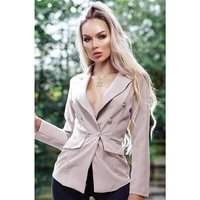 Elegant womens blazer jacket with buttons stone