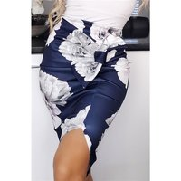 Knee-length womens pencil skirt with floral pattern navy