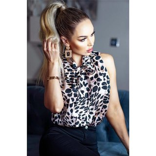 Sleeveless womens pussy bow blouse with animal print leo-beige