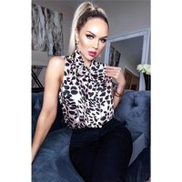 Sleeveless womens pussy bow blouse with animal print...