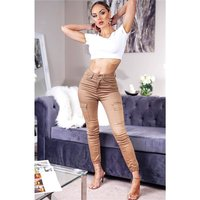 Skintight womens stretch skinny jeans cargo camel