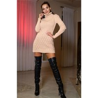 Womens cable-knit dress / long sweater antique pink