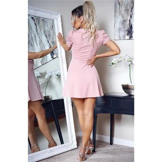 Sexy puffed sleeved skater mini dress antique pink