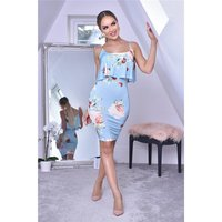 Knee-length flower dress with flounce overlay baby blue