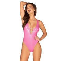 Sexy Damen Clubwear String-Body Teddy in Latex-Look Pink