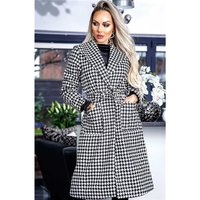 Womens longline coat with houndstooth pattern black/white