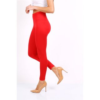 Basic Damen Leggings Rot