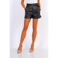 Wide leg womens faux leather shorts with belt black