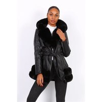 Womens faux leather winter coat with faux fur black