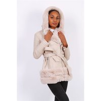 Womens faux leather winter coat with faux fur beige