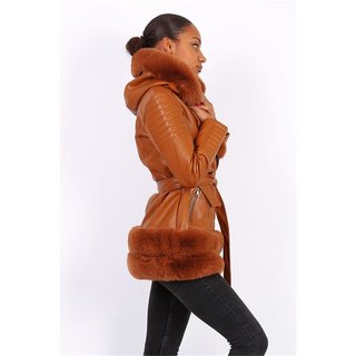 Womens faux leather winter coat with faux fur camel
