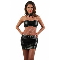 Sexy womens faux leather gogo set with chains black