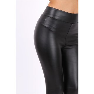 Lined womens faux leather thermo leggings black UK 12/14 (L/XL)