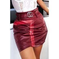 Sexy womens faux leather mini skirt with belt wine-red
