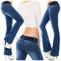 Womens bootcut jeans used look incl. stretch belt dark blue