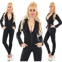 Skinny womens long-sleeved jeans jumpsuit with zipper black