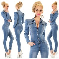 Slim-fit womens jeans jumpsuit with puffed sleeves blue...