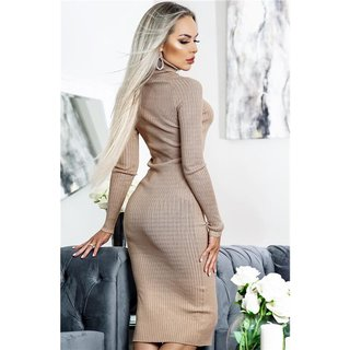 Long-sleeved rib-knit midi dress with turtle neck beige