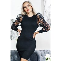 Elegant womens rib-knit dress with transparent sleeves black