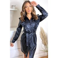Knee-length faux leather dress with flounces and belt black