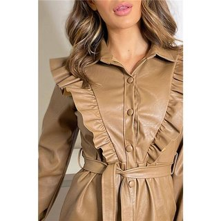 Knee-length faux leather dress with flounces and belt camel
