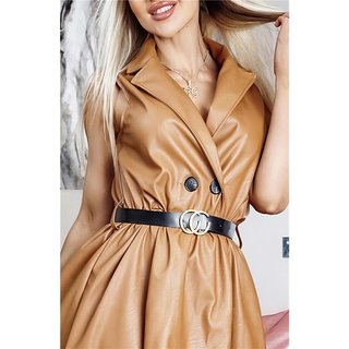 Sleeveless faux leather dress A-line with belt camel