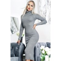 Long-sleeved rib-knit midi dress with turtle neck grey...