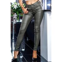Skinny Damenhose in Leder-Optik Wetlook Khaki