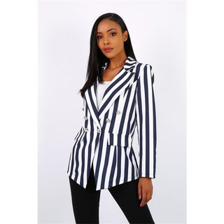Striped womens blazer jacket with buttons navy/white