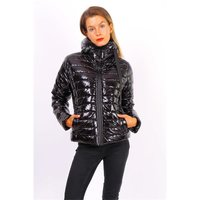 Womens glossy puffer jacket with hood black