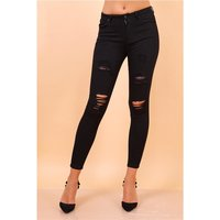 Womens ripped skinny stretch jeans destroyed look black